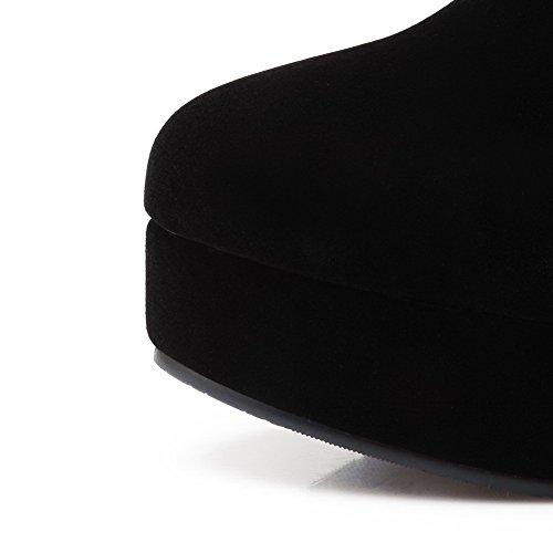BalaMasa Womens High Heels Thigh High Solid PU Knight Boot Black Flc2C