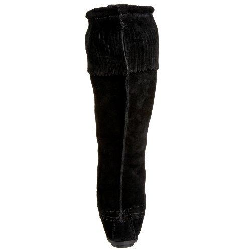 Minnetonka Damen Front Lace Hardsole Knee Hi Mokassin Stiefel Schwarz (Black)