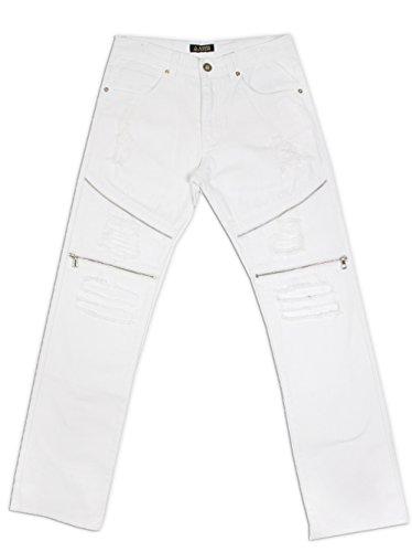 Big And Tall Zipper - Access Men's Big & Tall Biker Rip & Repair Twill Pants (46, White)