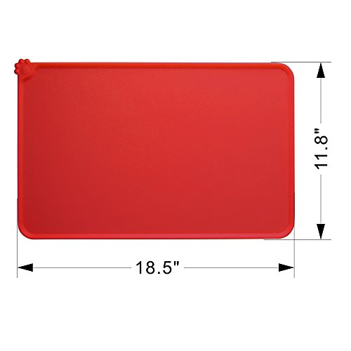 Guardians Dog Food Mat, Silicone Pet Feeding Mats, Non Slip Waterproof Cat Bowl Trays Food Container Placemat for Small Animals (18.5''x11.8'', Red) by Guardians (Image #4)