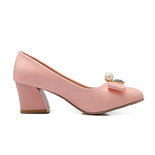 Allhqfashion Delle Donne Pu Solide Pull-on A Punta Chiusa Con Gattina-tacchi Scarpe-scarpe Rosa