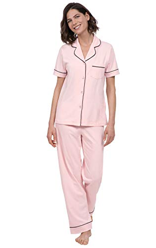 PajamaGram Womens Pajama Set Soft - Short Sleeve Pajamas for Women, Pink, XL, 16 (Womens Short Sleeve Pajamas Xl)