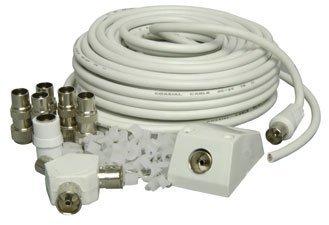 Mercury - Conjunto de instalación de cable coaxial de antena de TV (incluye cable de 15 m, 5 conectores coaxiales, adaptador y 50 grapas de pared): ...