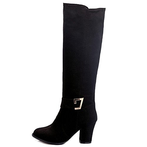 Heel with Boots Large colors Onewus Material Women Knee Suede High Available Boots Size Chunky Black and with and Women 3 g4wYq