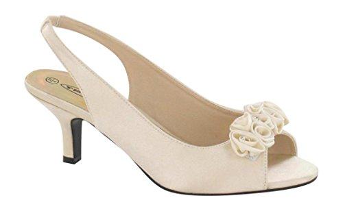 Chic Feet - Sandalias de vestir de Satén para mujer marfil