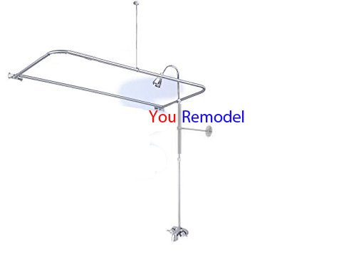 Add A Shower Converter Kit For Clawfoot Tub with Diverter Faucet & D-Shape Rod by YouRemodel