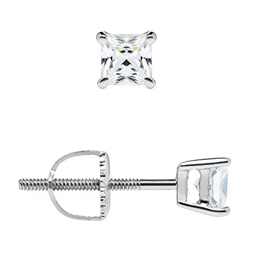 14K Solid White Gold Stud Earrings | Princess Cut Cubic Zirconia | Screw Back Posts | .58 CTW | With Gift Box