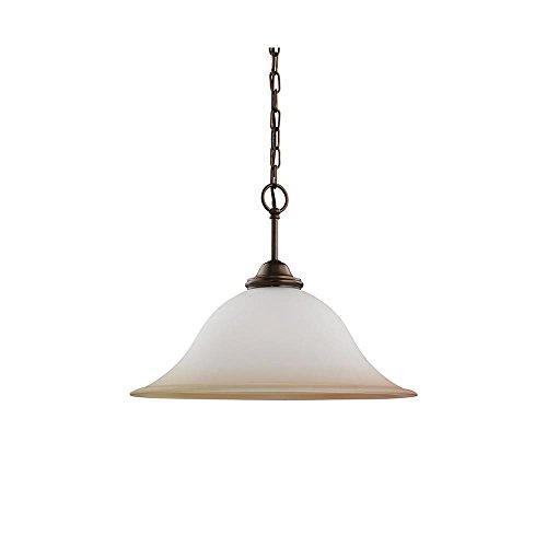 Sea Gull Lighting 65360-829 Single-Light Rialto Pendant, Ginger Glass Shade, Russet Bronze