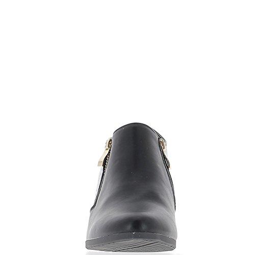 Bajo negro botas de material bi de tacón 6 cm