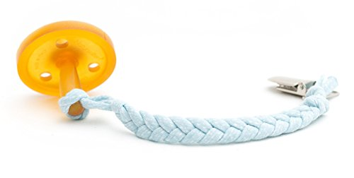 Madelines Box Original Softy Braided Pacifier Clip, Hand-Made in USA, Universal - Keep Any Pacifier, Teether, Or Toy Off The Dirty Ground, Perfect Length 8, Stylish and Sturdy (Softy Baby Blue)