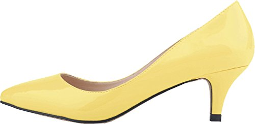 Salabobo Womens Smart Wedding Bride Bridesmaid OL Night Party Pointed Toe Low Heel PU Pumps Yellow PBYsb4B