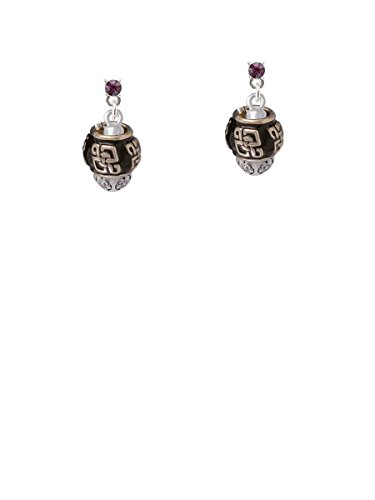 Chinese Pattern on Black Spinners Purple Crystal Post (Asian Purple Earrings)