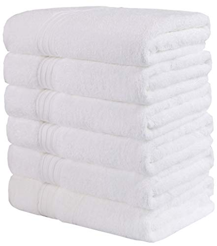 - GraceAier Luxury Cotton White Bath Towels for Hotel,Spa,Pool,Gym (6-Pack,24 x 48 Inches) Lightweight Soft Absorbent Ring Spun Cotton Bathroom Towel