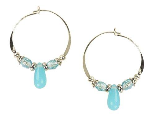 Bali Sky Medium Sterling Silver Aqua Drop Bead Hoop Earrings -