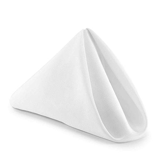 - Plain Printed Linen Kitchen Napkin 100% Cotton Pack of 10 (10 X 10 Inches) Dinner Napkins with Hemmed Edges,Cloth Napkins for Wedding,Parties White Solid