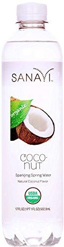 Sanavi Organic Sparkling Spring Water, Coconut, 17 fl. oz, 12 Count