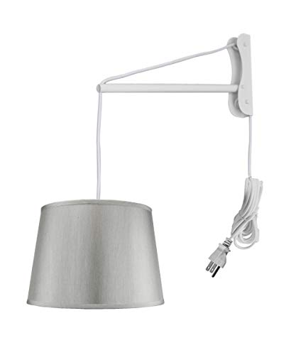 2 Arm Pendant - MAST Plug-in Wall Mount Pendant, 2 Light White Cord/Arm with Diffuser, Hard Back Silver Grey Shade 13x16x11
