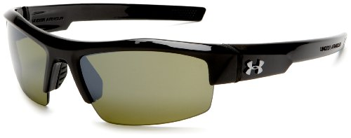 Under Armour Igniter Multireflection Rectangular Sunglasses, Shiny Black Frame/Green Lens, one size