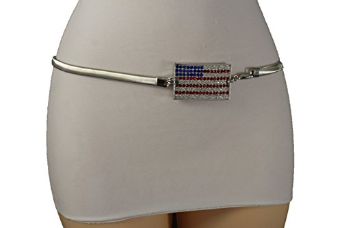 TFJ Women Fashion Skinny Belt High Waist Hip Elastic USA Flag Buckle S M L