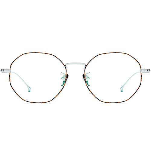 Men's Sunglasses Retro Round Ultra Light Clear Lens Eyeglasses, Glasses Frame for Women/Men Women's DIY (Color : Leopard/Silver) (Klare Gläser Frames Amazon)