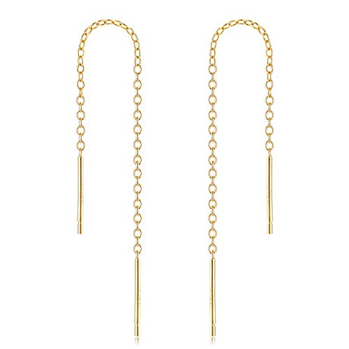- Gintan Sterling Silver 1mm Threader Earrings, 3 Inch (Gold)