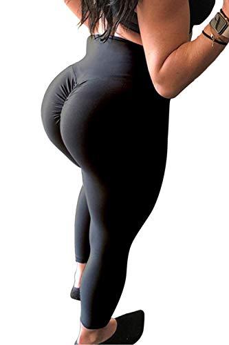 CROSS1946 Women's High Waist Back Ruched Legging Butt Lift Yoga Pants Hip Push Up Workout Stretch Capris M Black