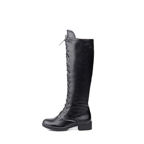 Ei&iLI Bottes pour dames chaudes PU ronde Toe talons lacets bottes d'hiver court , black , 37