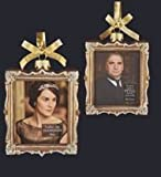 Kurt Adler 4 Downton Abbey Gold Glass Lady Mary Crawley and Mr. Carson Picture Frame Christmas Ornament
