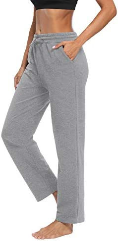 ZJCT Womens Cotton Sweatpants Straight-Leg Active Yoga Workout Joggers Pants Drawstring Loose Lounge Pants with Pockets 2