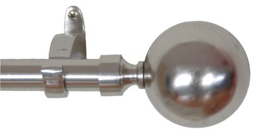 Rulu 28456 44 by 108-Inch Ball Nickel Curtain Rod with 0.75-Inch Pipe