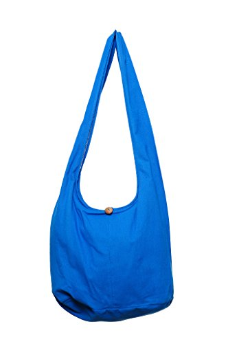 Avarada Thai Cotton Hippie Hobo Sling Crossbody Bag Messenger Purse Bohemian Large Blue