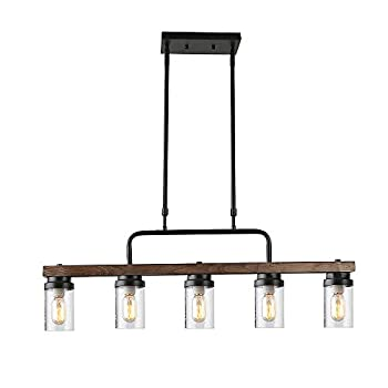 Image of Anmytek Kitchen Island Pendant Lighting with Bubble Glass Shade Industrial Rustic Chandelier Retro Ceiling Light or Edison Vintage Hanging Light Fixture 5-Lights (C0039) Home and Kitchen