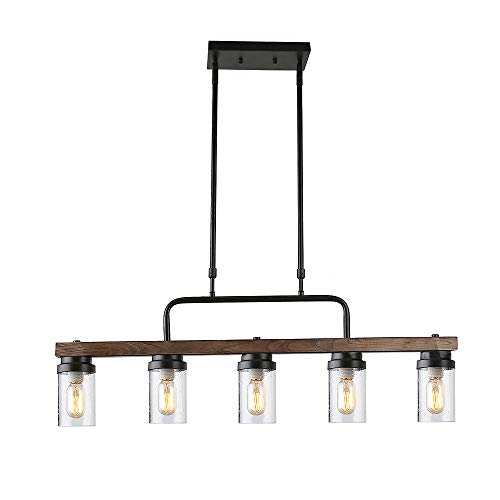 Anmytek Kitchen Island Pendant Lighting with Bubble Glass Shade Industrial Rustic Chandelier Retro Ceiling Light or Edison Vintage Hanging Light Fixture 5-Lights (C0039)