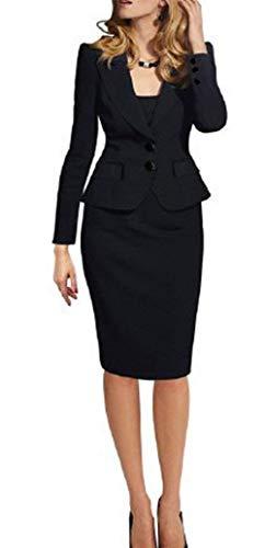 Donna Giacca Cappotto Primaverile Con Hipster Elegante Giubbino Fit Da Tailleur Manica Autunno Blau Business Blazer Button Moda Colore Slim Bavero Lunga Puro dxqf0Fnd4