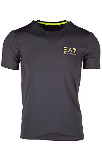 Emporio Armani EA7 Herren T-Shirt Kurzarm Kurzarmshirt runder Kragen Grau