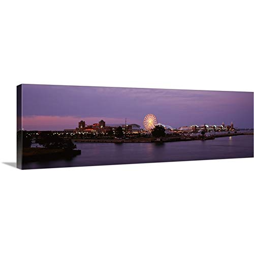 GREATBIGCANVAS Gallery-Wrapped Canvas Entitled Night Navy Pier Chicago IL by 36