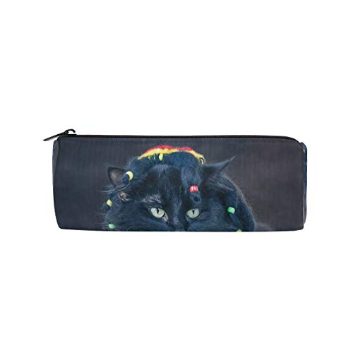 Pencil Case Special Halloween Cat Zippered Pencil Box Round Stationery Bag Makeup Cosmetic Bag for Students/Women -