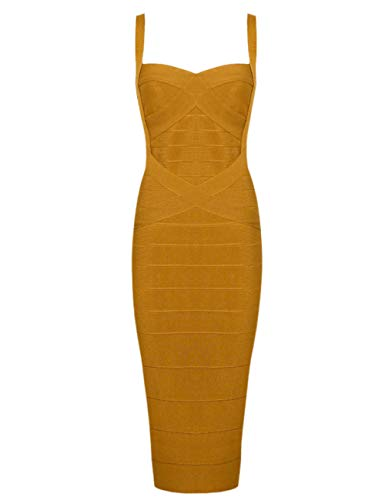 Whoinshop Women's Rayon Strap Celebrity Midi Evening Party Bandage Dress (XXL, Ginger-ployester)