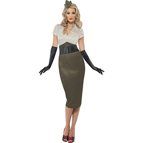 Smiffys Women's WW2 Army Pin Up Spice Darling Costume, Dress and Hat, Wartime 40's, Serious Fun, Size 10-12, 38816