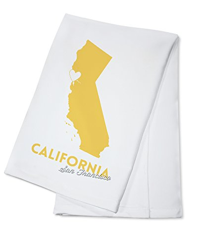 San Francisco, California - State Outline and Heart (100% Cotton Kitchen Towel)