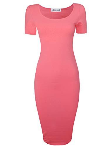 TAM WARE Women's Sweetheart Short Sleeve Midi Dress TWCWD053-D065-CORAL-US XL