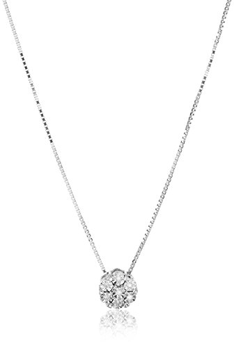 Sterling Silver Diamond Cluster Earrings and Pendant Necklace Jewelry Set (1/10 cttw, I J Color, I2 I3 Clarity)