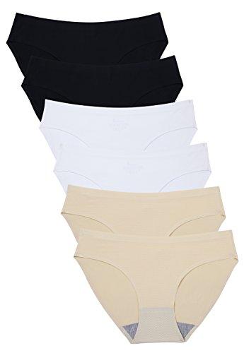 Wealurre Breathable Underwear Women Seamless Bikini Nylon Spandex Mesh Panties(B2/W2/A2,M)