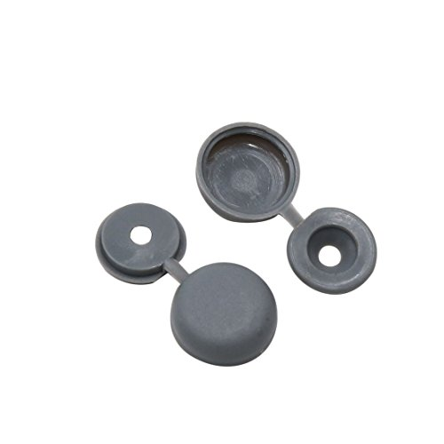 (uxcell 20pcs Gray Hinged Plastic Clips Screw Fold Caps Cover 4mm for Auto Car Decor)