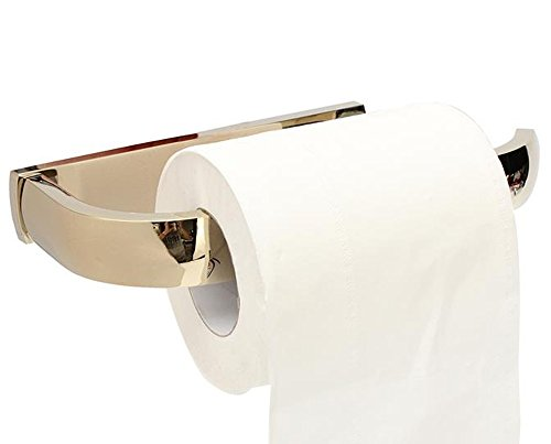 ROSE CREATE Gold Brass Paper Towel Holder, Bathroom Tissue Roll Hanger, Lavatory Wall Mount Golden Toilet Paper Shelf - Golden by ROSE CREATE (Image #4)