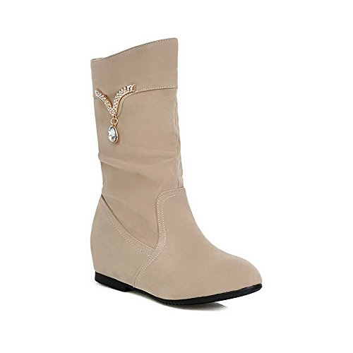 Toe with apricot Closed Low Boots Inside Round Women's Heighten Thread and Heels Toe AmoonyFashion EqnZx18Ux