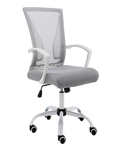 Mid Back Grey Mesh - Modern Home Zuna Mid-Back Office Chair - White/Gray