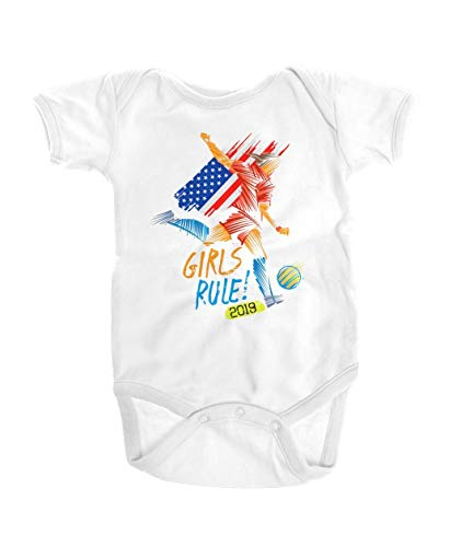 Girls Rule Womens Soccer 2019 Onesie - USA National Team Flag Gift White