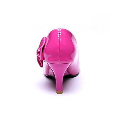 Blivener Womens Pumps In Vernice Color Cuoio Con Tacco Alto Con Fiocco Rosa