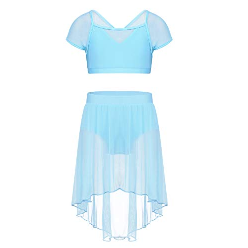 iEFiEL Kids Girls 2 Pieces Lyrical Ballet Dance Dress Mesh Overlay Skirts Gymnastics Dancing Outfit Costumes Sky Blue 6